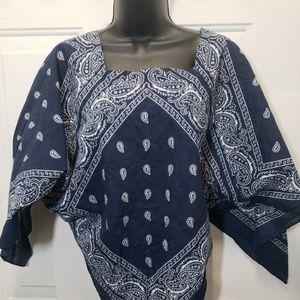 asymmetrical blue bandana top sz m festival